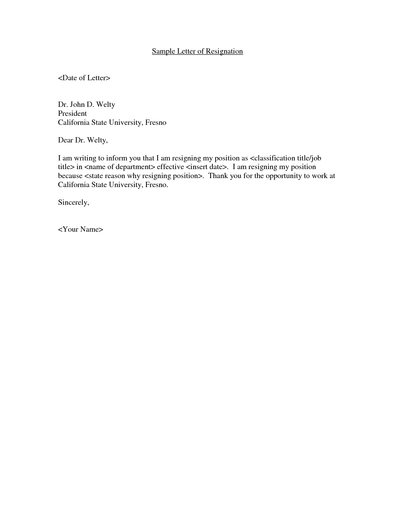 Example Of A Brief Resignation Letter Sample Resignation