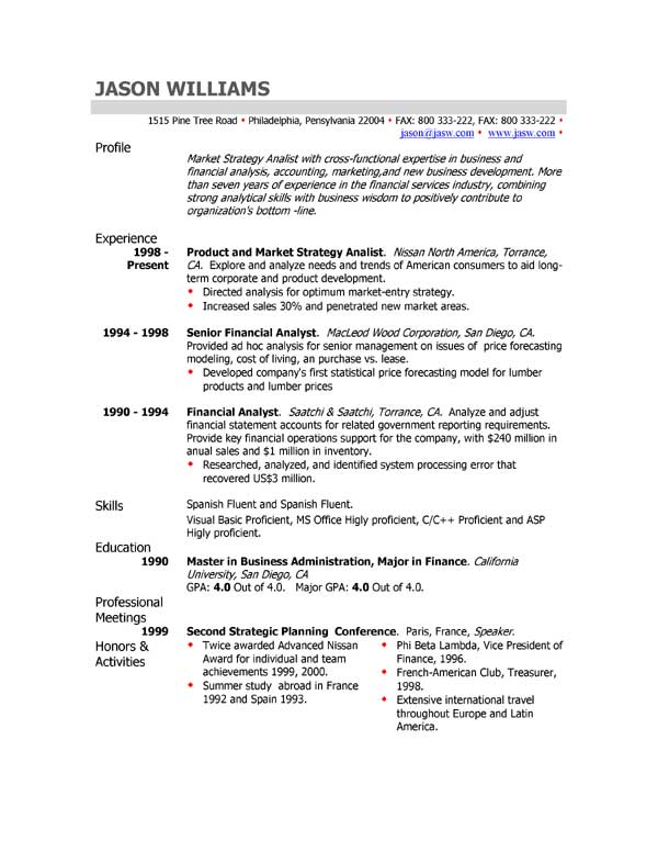 sample of profile in resumes