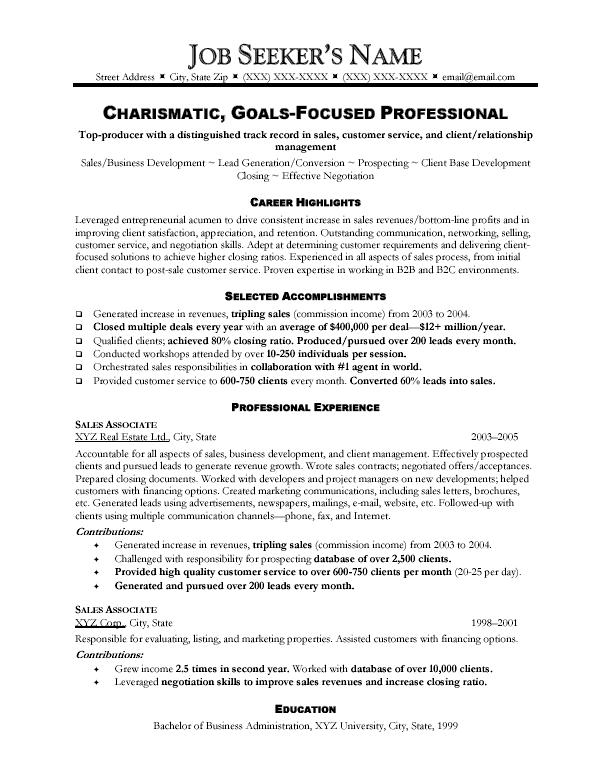 example sales resumes sales associate resume examples - Skills And Accomplishments Resume Examples