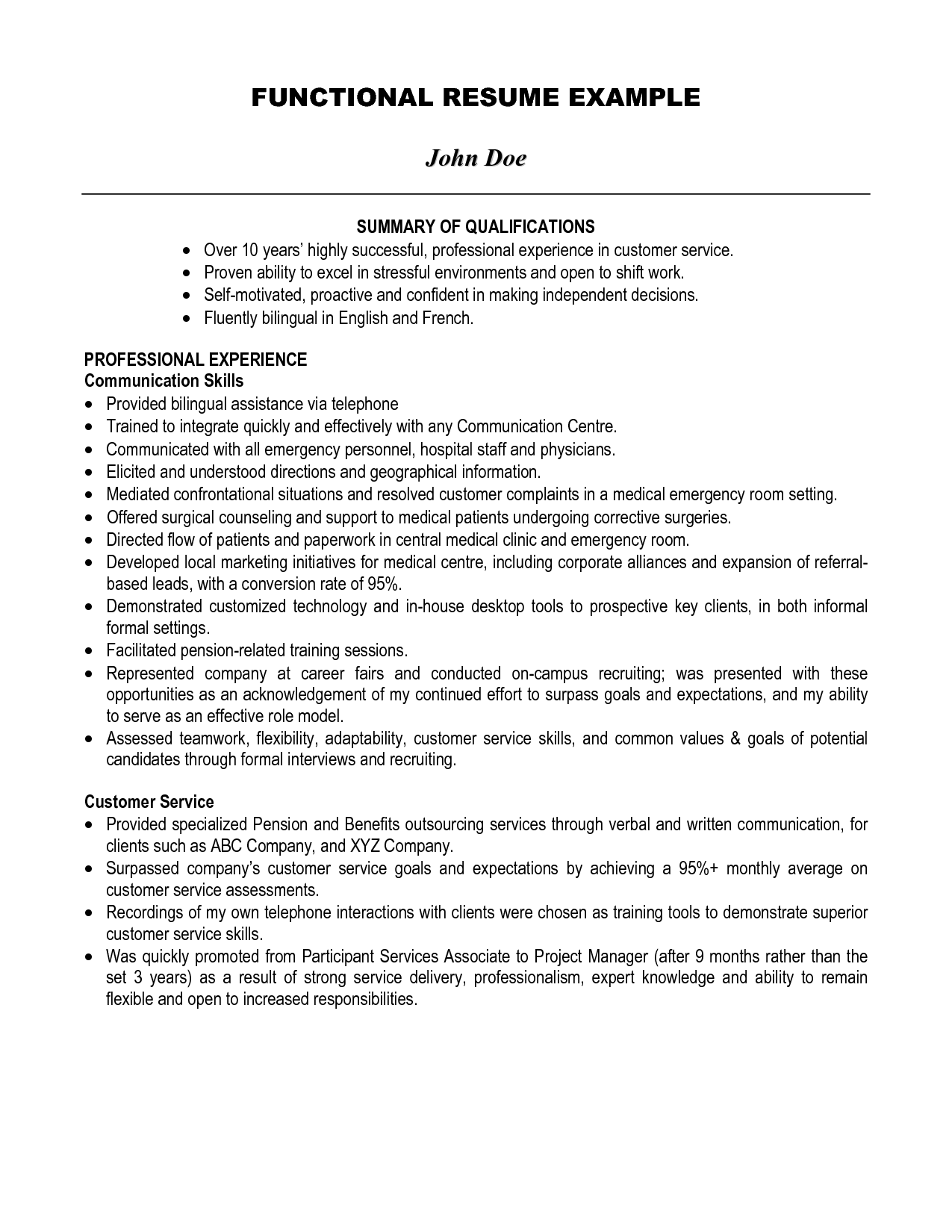 Examples of resume summary for customer service