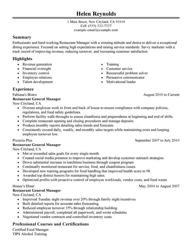 Experience Restaurant Manager Resume Sample Restaurant Manager
