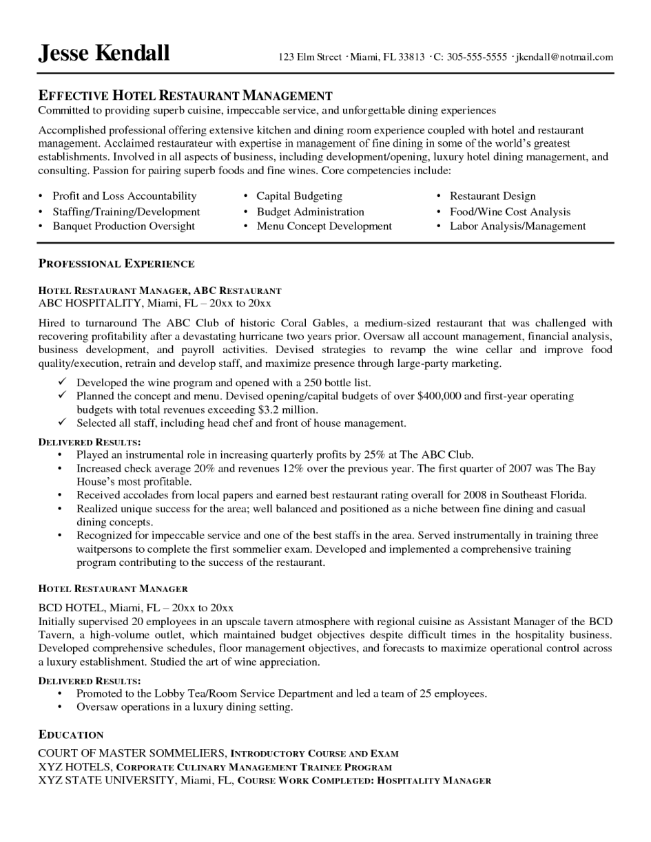 Restaurant Manager Resume Sample  Restaurant Manager Resume Examples