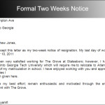 Formal Two Weeks Notice sample PDF Download