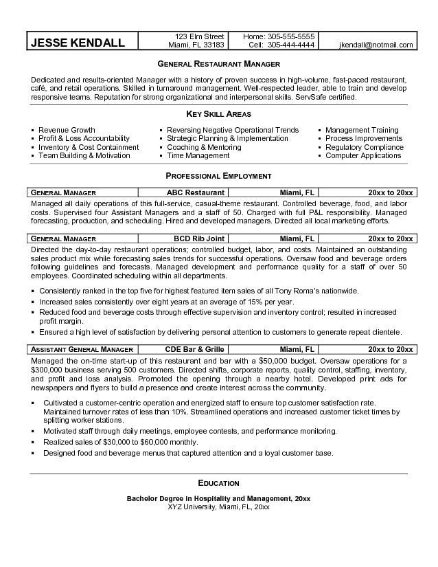 Free Best Restaurant Manager Resume Sample with description key ...