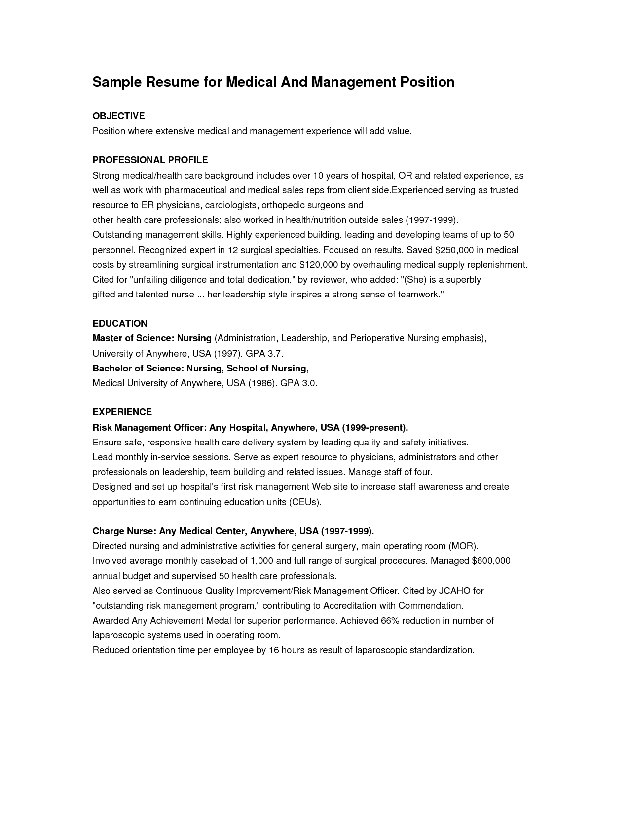 free sample objectives for resumes objective examples healthcare manager sample resume for medical and management position - Sample Resume For Leadership Position