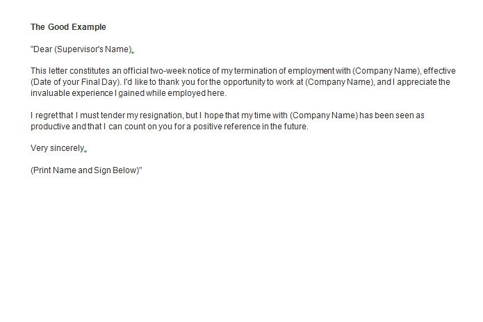 Formal Two Week Notice Resignation Letter Example
