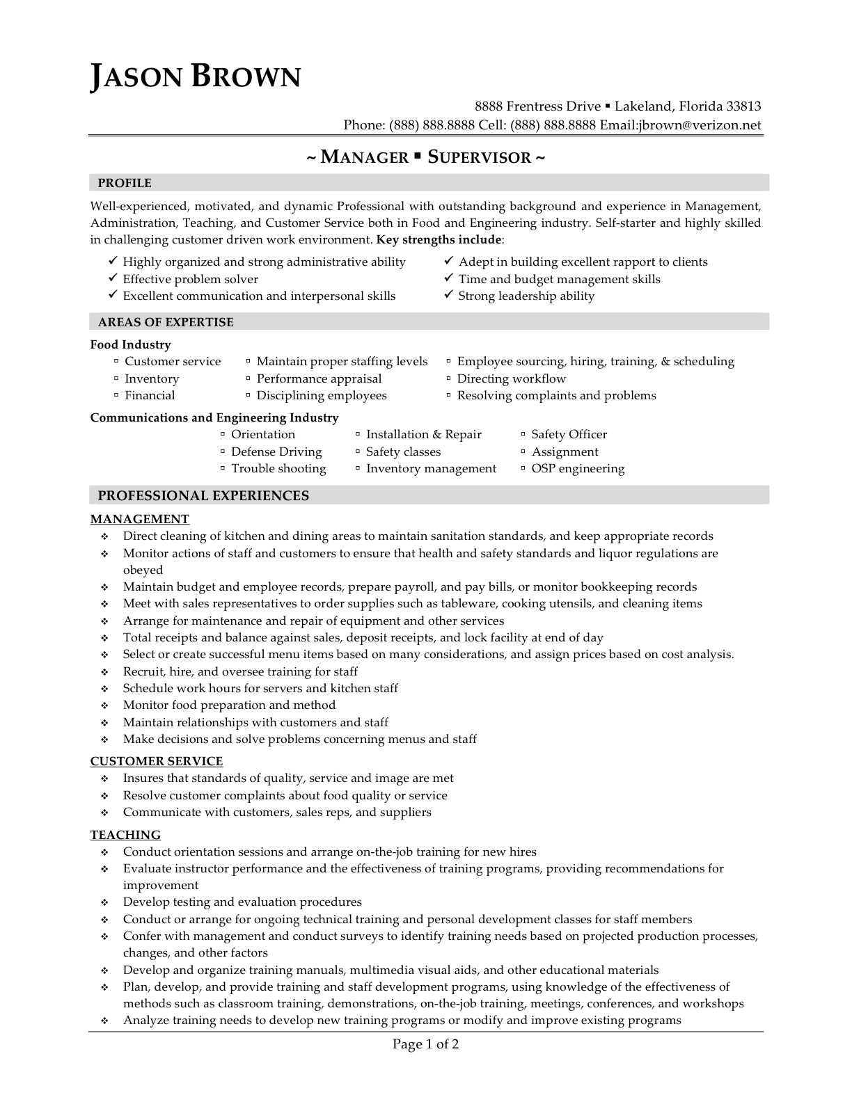 General Manager Supervisor Sample Restaurant Management Resume Gallery