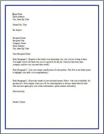 General Cover Letter Template For Excel Pdf And Word Resume Free