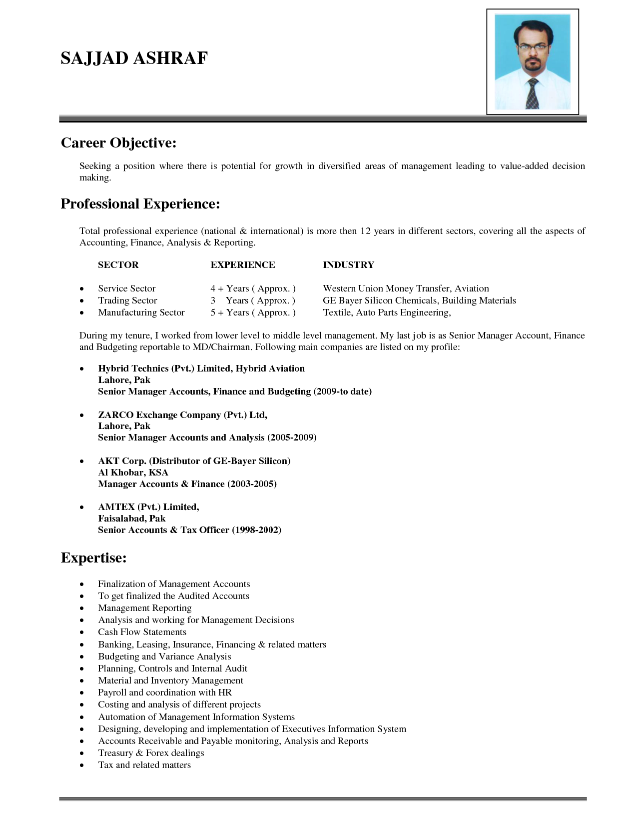 Good Objective Lines for Resumes career objective with full professional experience