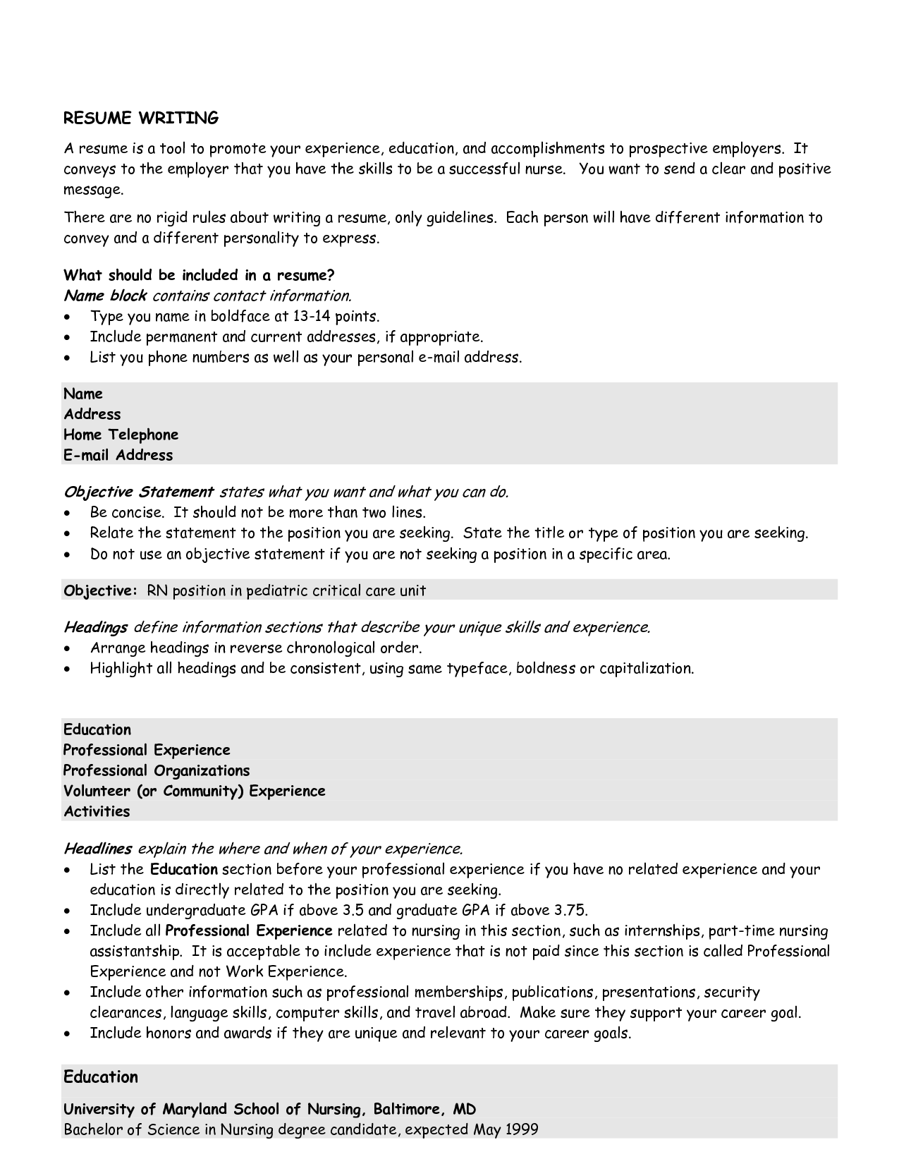 Good Opening Statement For Resume And Sample Resume