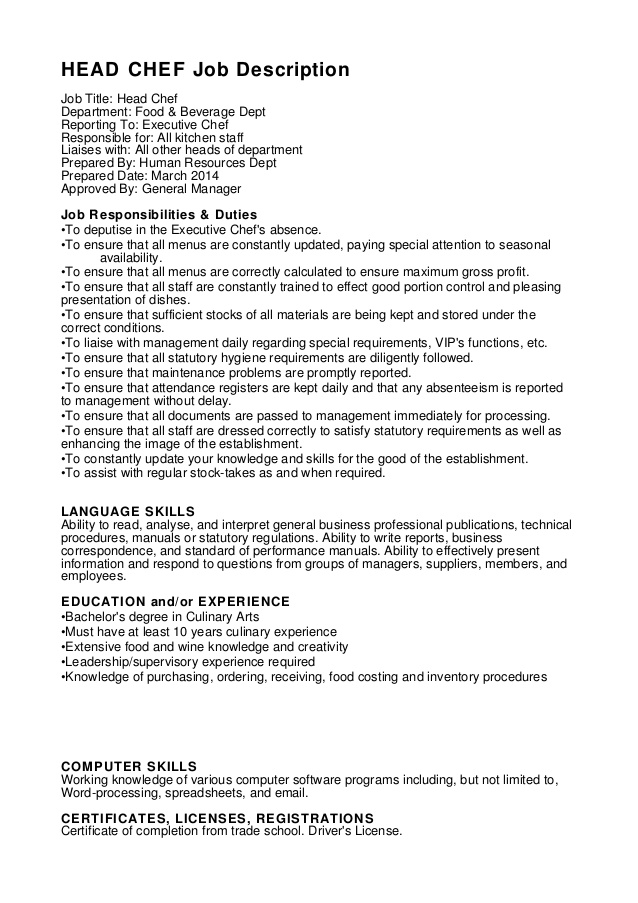 HEAD CHEF job description job title head chef department food beverage dept reporting sous chef job description for resume