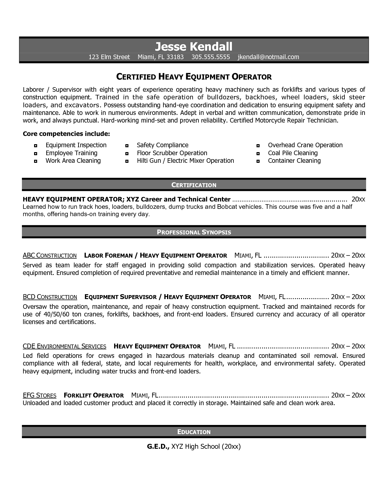 sample resume heavy equipment operator selo l ink co