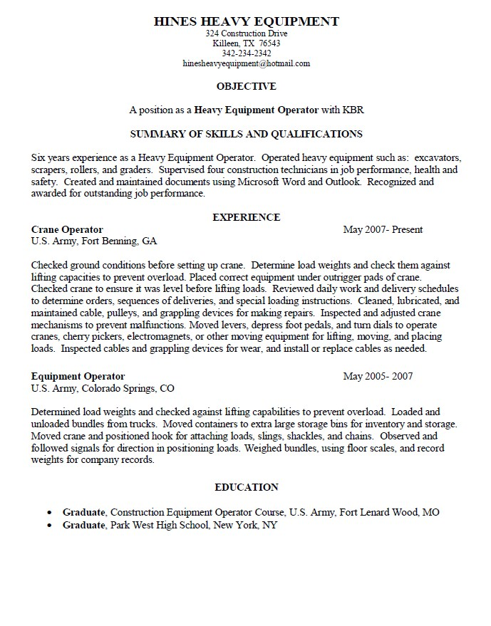 heavy equipment operator resume samples