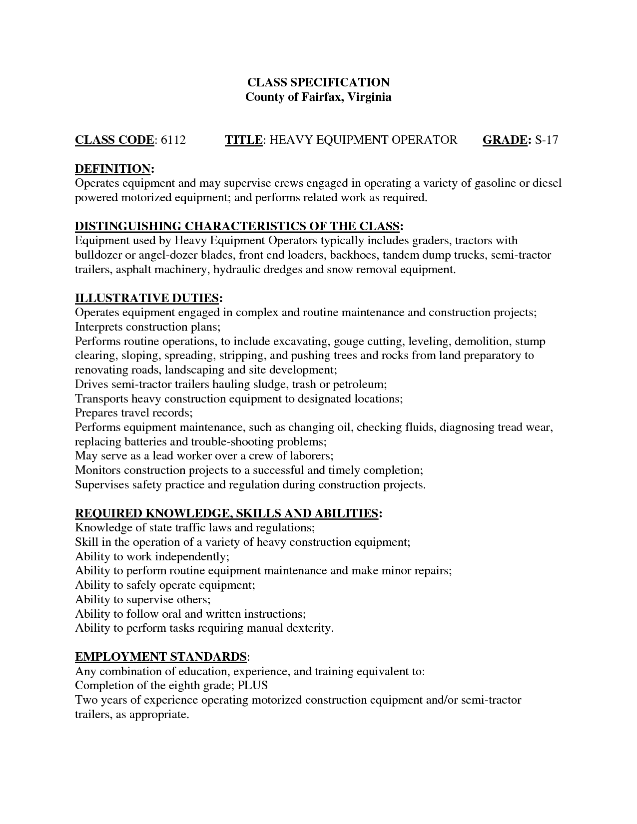 Heavy Equipment Operator Resume Example