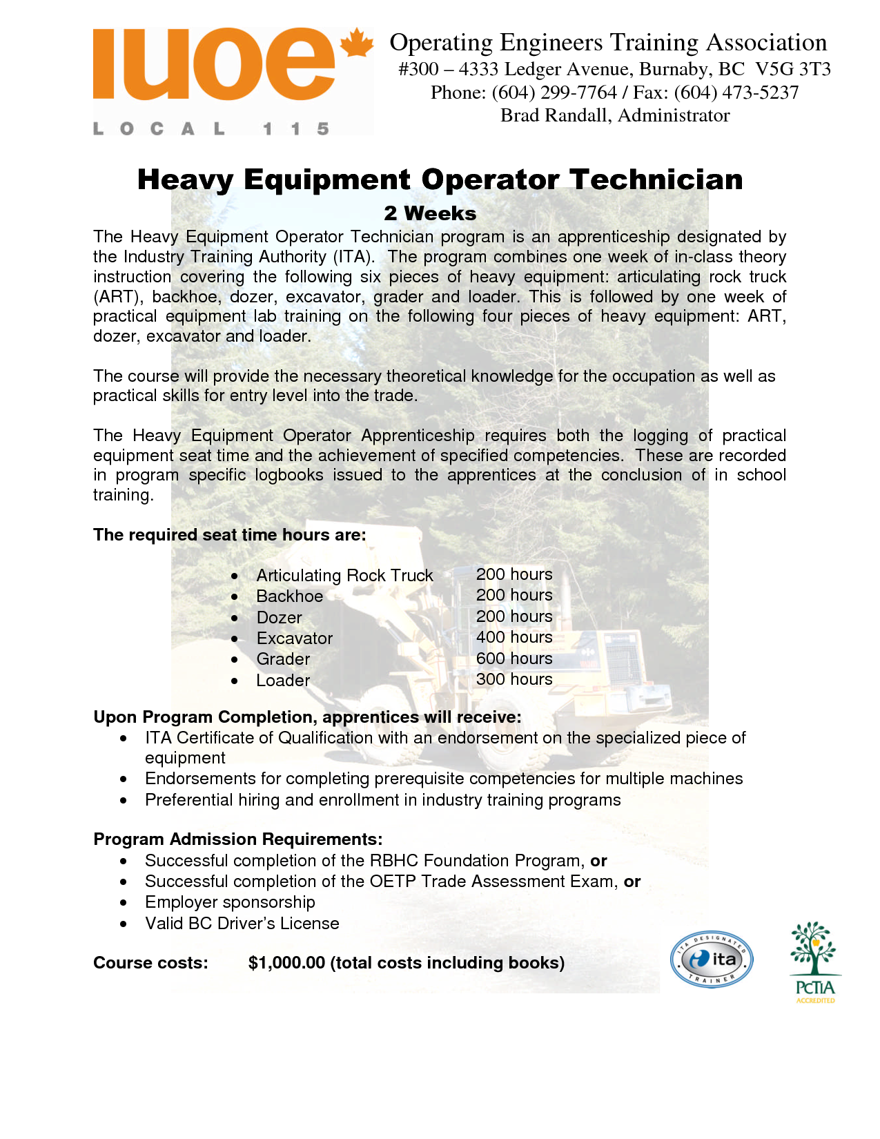 heavy equipment operator resume sample technician