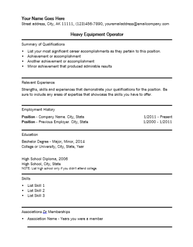 heavy equipment resume