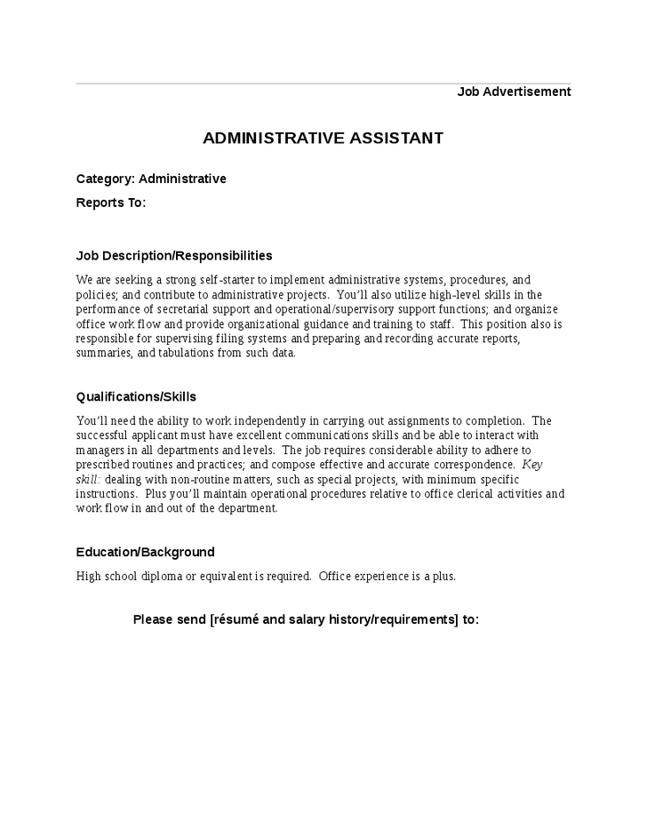 high level executive assistant duties description for