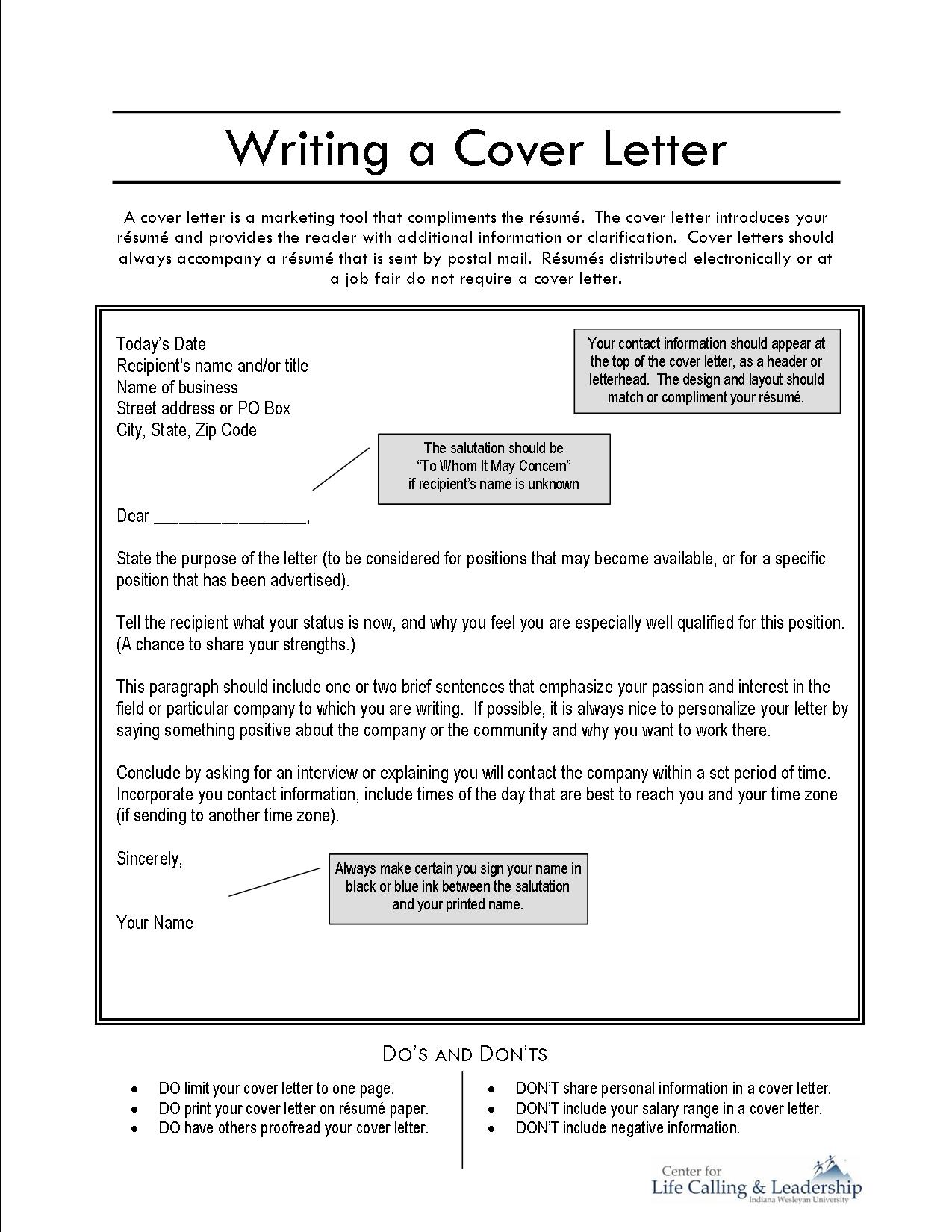 making a resume cover letter