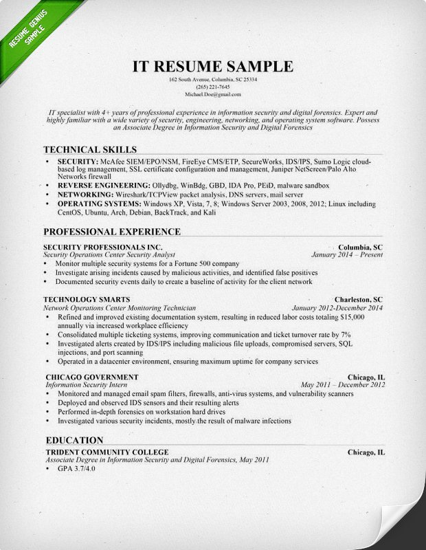 Information Technology It Resume Sample Computer Skills On