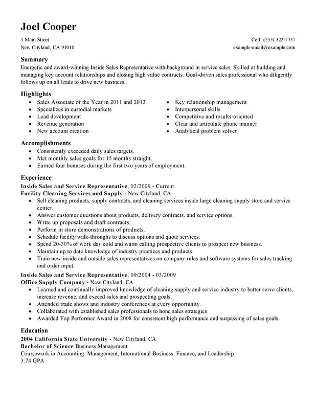 Inside Sales Resume Sample Sales Resume Examples Free