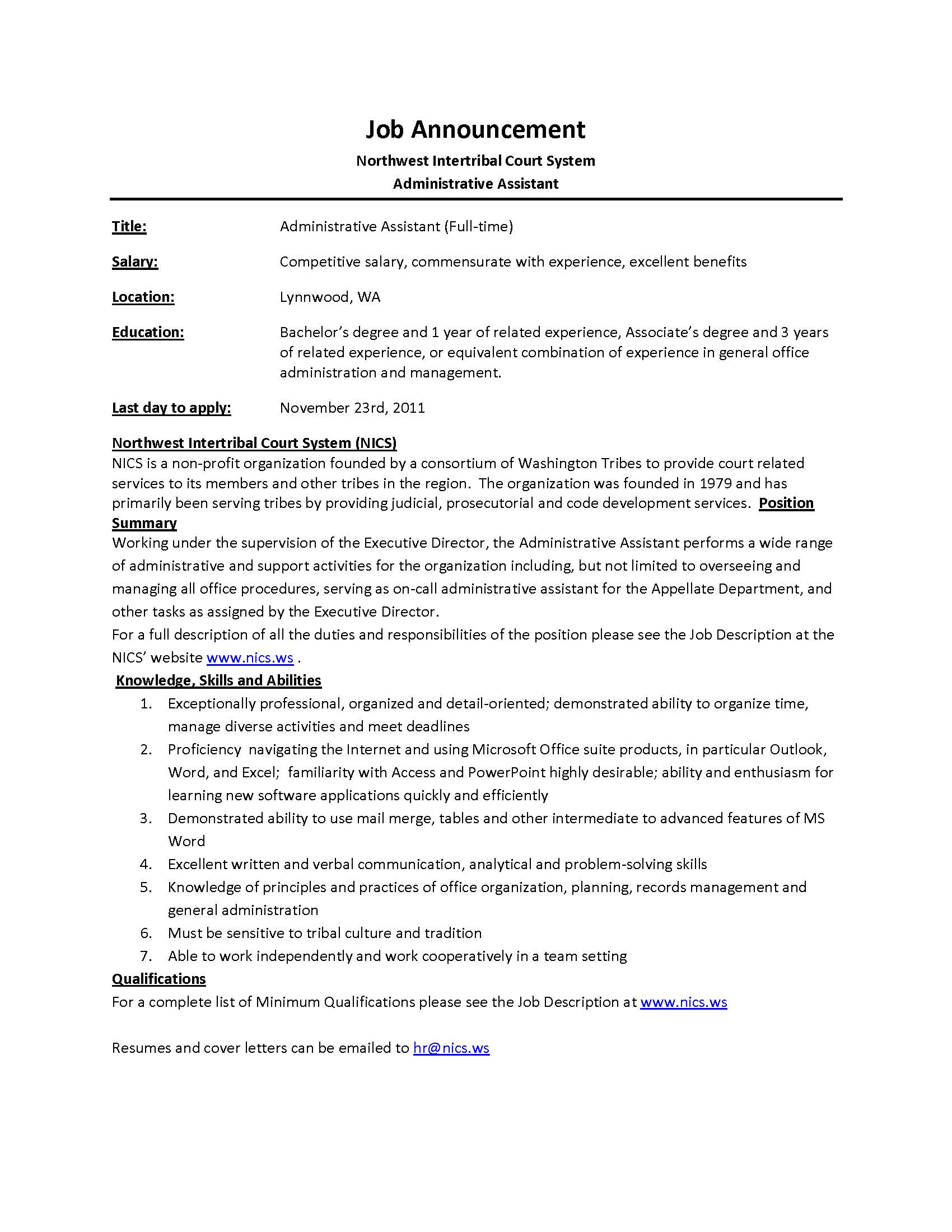 Amazing Job Announcement NICS Admin Assistant Administrative Assistant Sample Job  Description Can Assist Regard To Administrative Assistant Responsibilities