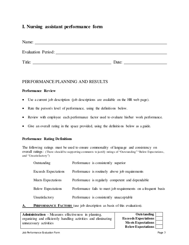 job performance evaluation form nursing assistant performance form evaluation performance planning nursing assistant performance appraisal - Duties Of Nurse Assistant