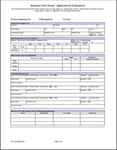 KFC job application form kfc job application pdf