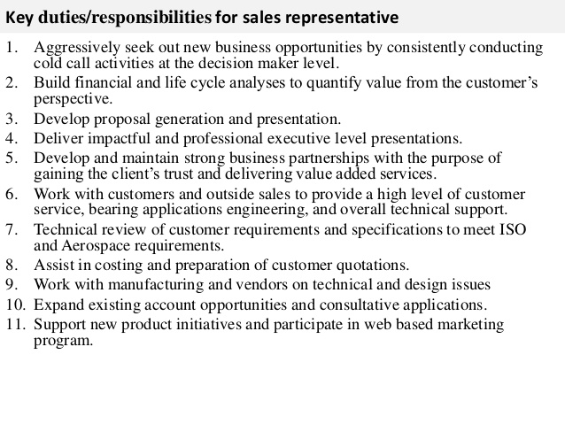Key Duties Responsibilities For Sales Representative BB Sales