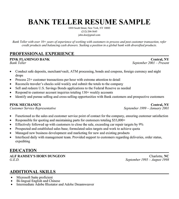 sample resume for teller - Gecce.tackletarts.co