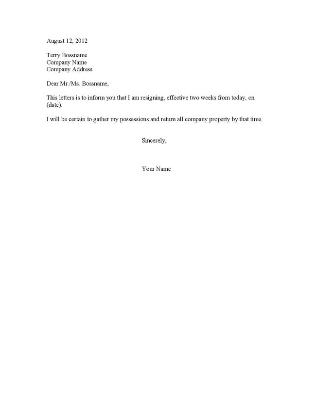 Letter For 2 Weeks Notice resignation letter two weeks notice page 1