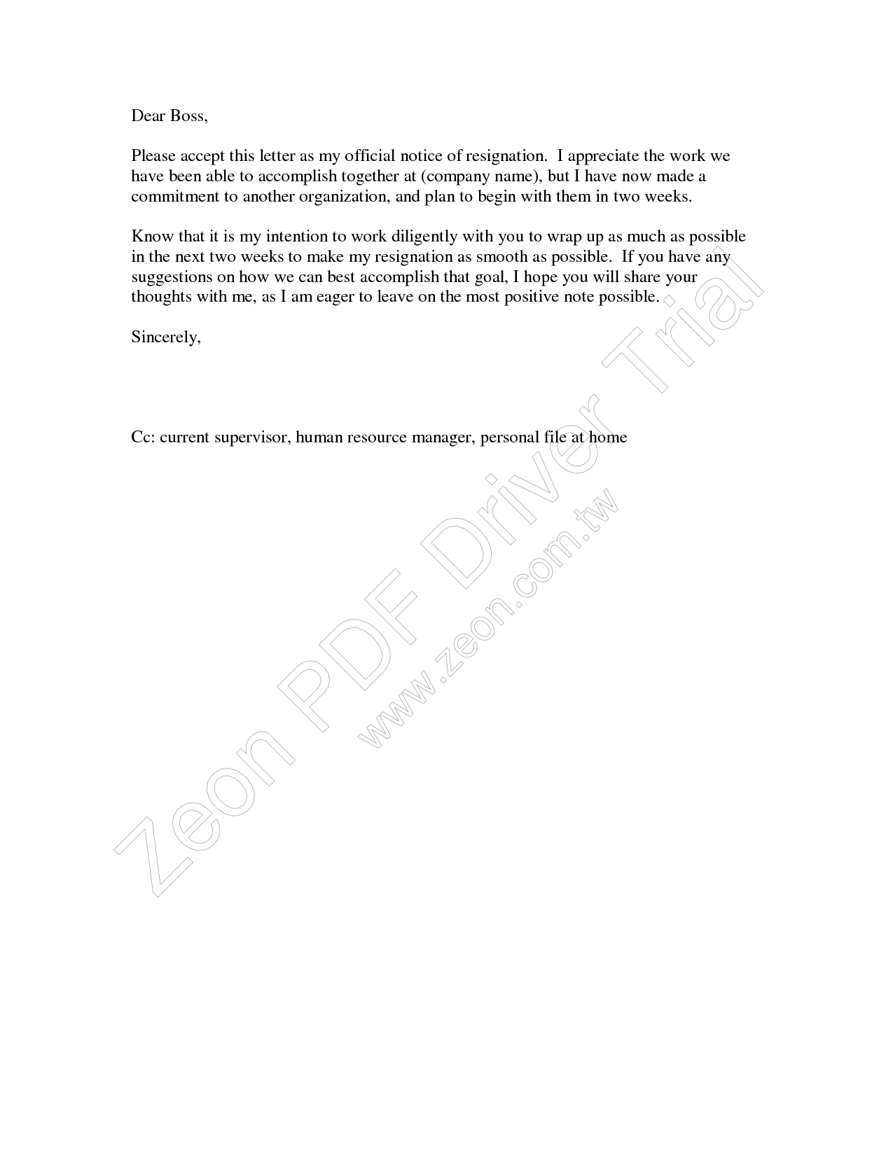 resignation letter 2 week notice formal two week notice resignation letter example 1568