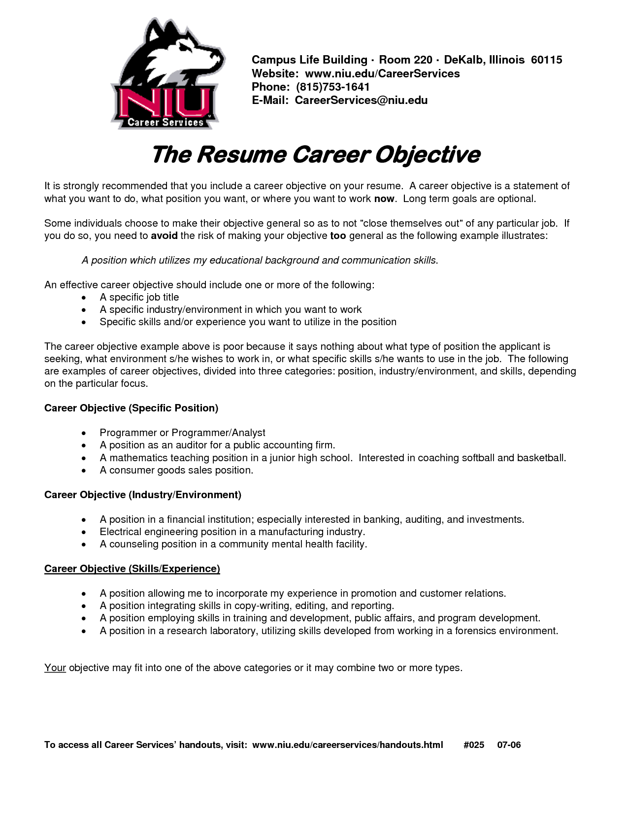 List Career Goal Examples For Resume with List of career Objectives for Resume