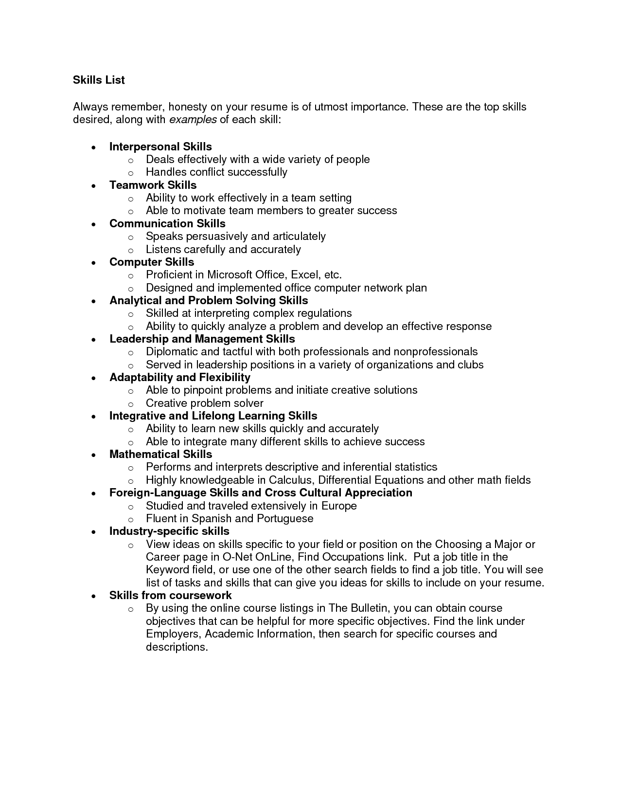 List Of Skill For Resume List Of Skills For Resume