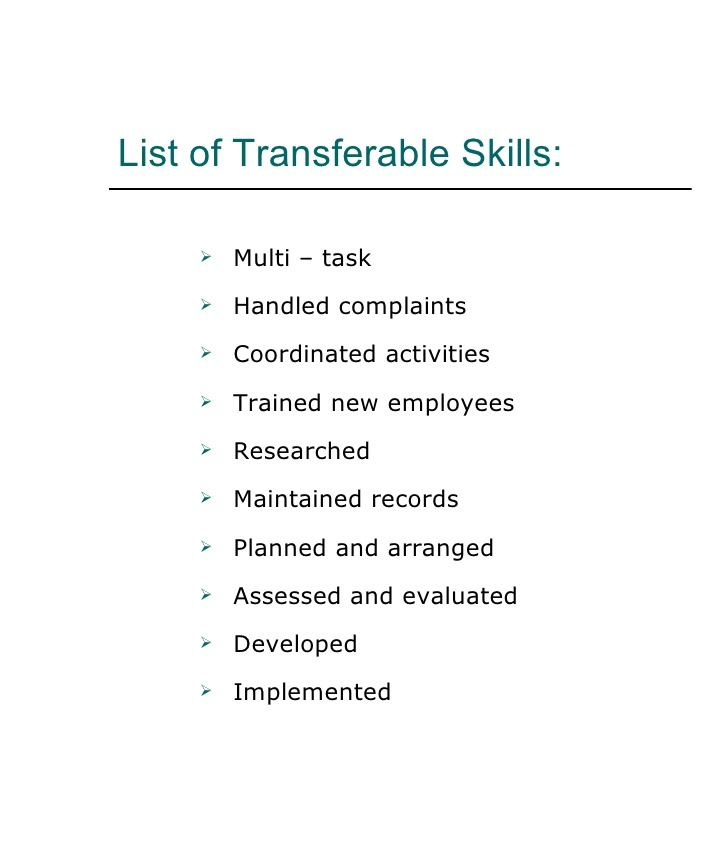 Functional Resume Skills List  Transferable Skills Resume