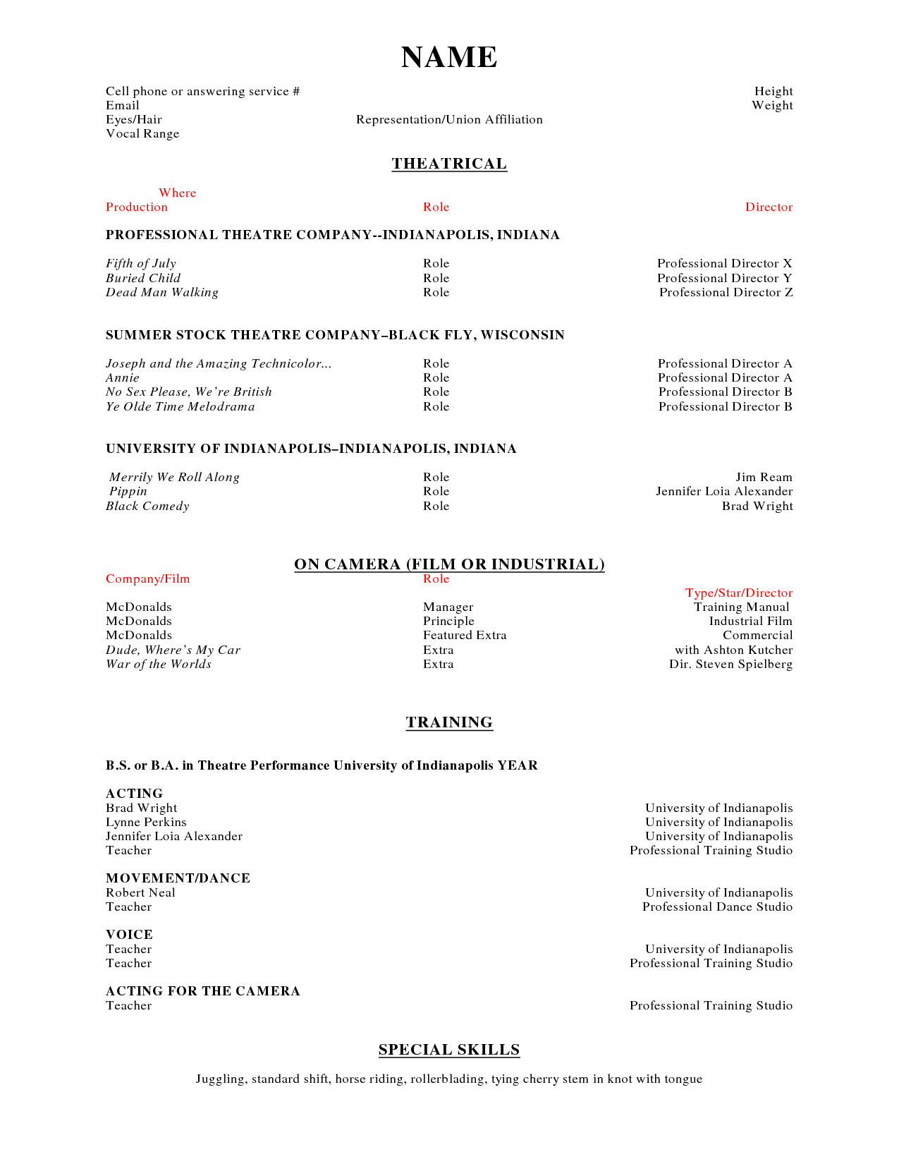 sample mcdonalds resume