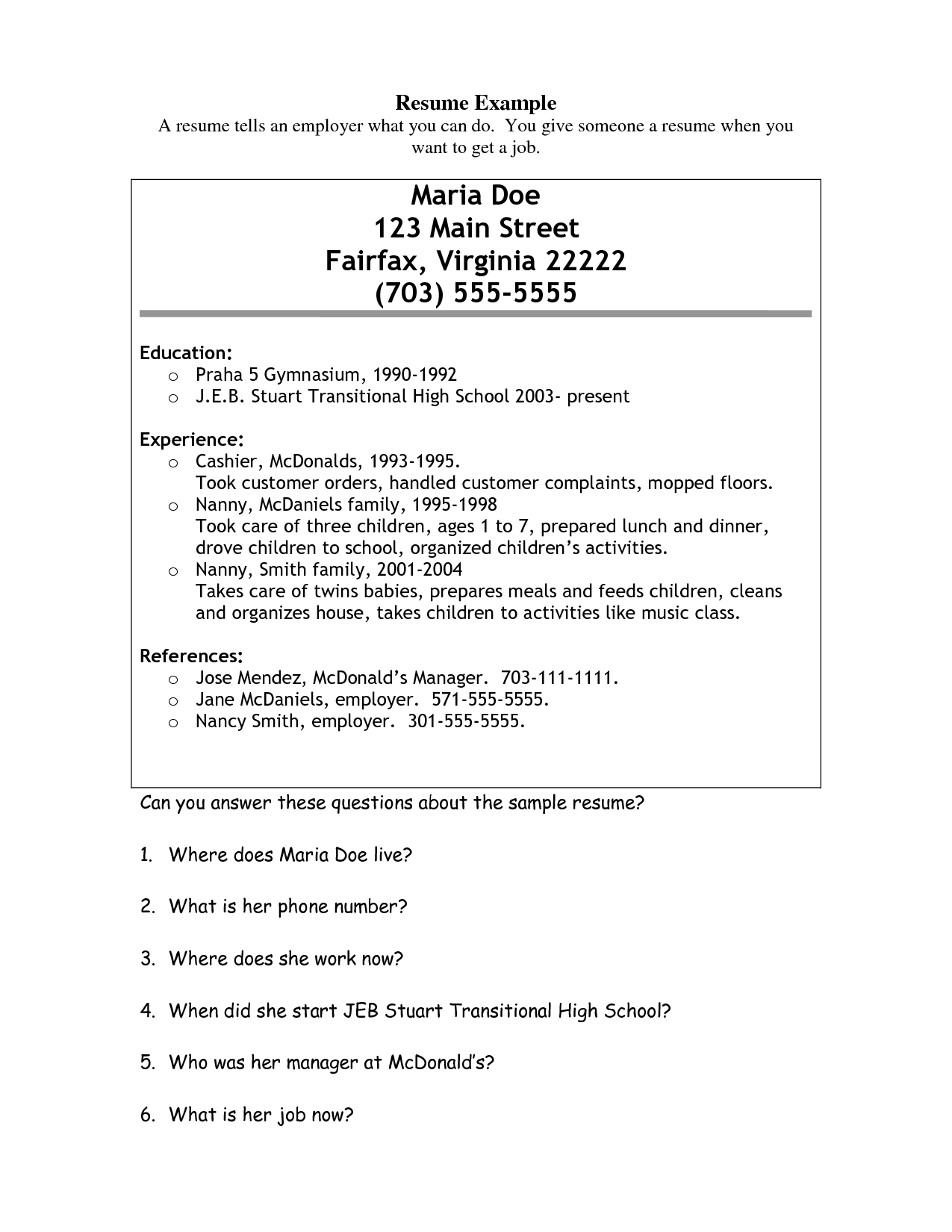mcdonalds job resume mcdonalds resume example maria doe