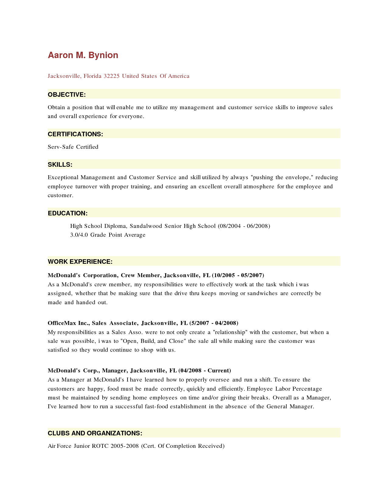 McDonalds Resume Resume description SampleBusinessResumecom