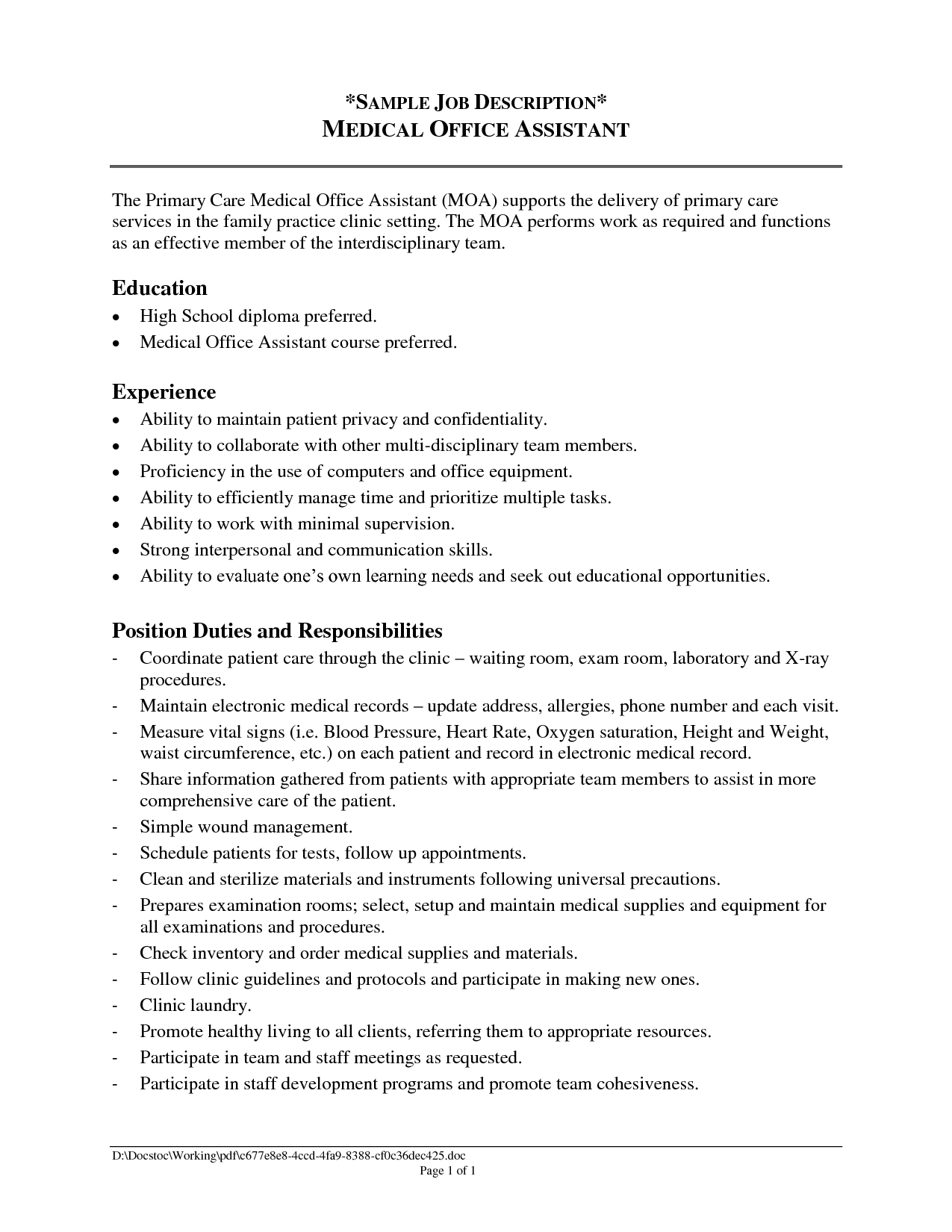 Front Office Position Summary Resume