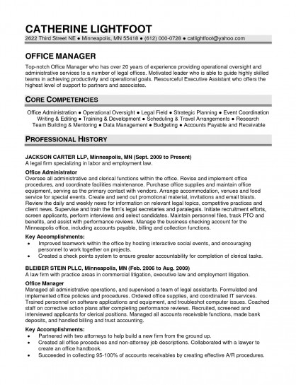 Office manager resume template for Sample objectives in resume for office staff