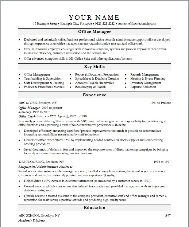 Office Resume Templates Free  Sample Resume And Free Resume Templates