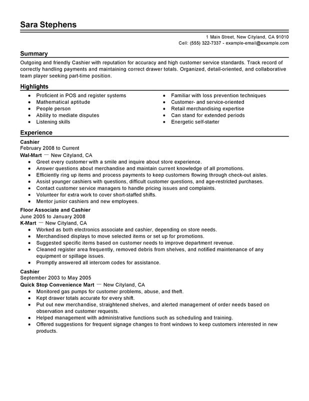 part time cashiers resume sample and cashier skills for resume