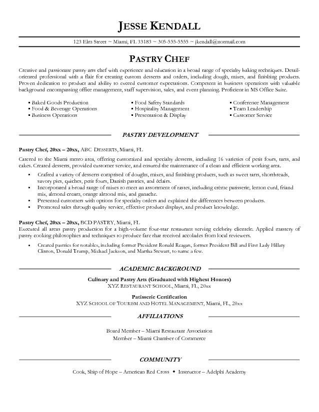 Pastry Chef Resume Objective Examples academic background of pastry development resume template for 2016