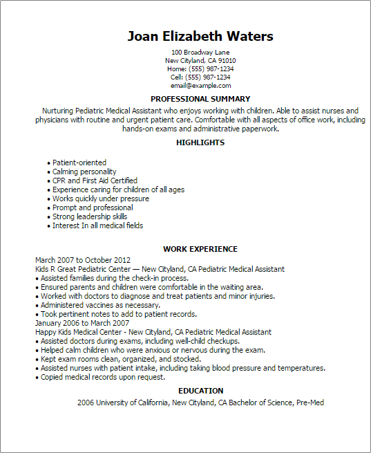 Pediatric Medical Assistant Resume Templates also Medical Assistant List of Duties