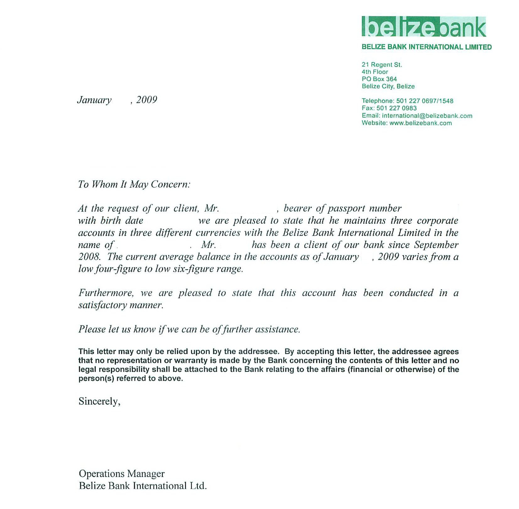 Personal Bank Reference Letter Sample by Belize Bank international limited