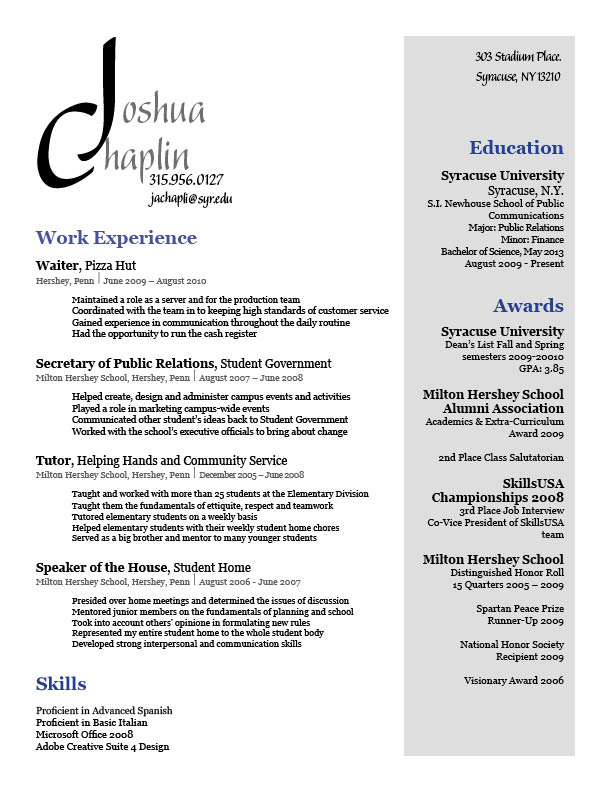 Pizza Hut Manager Resume Sample Skills Joshua Chaplin Full