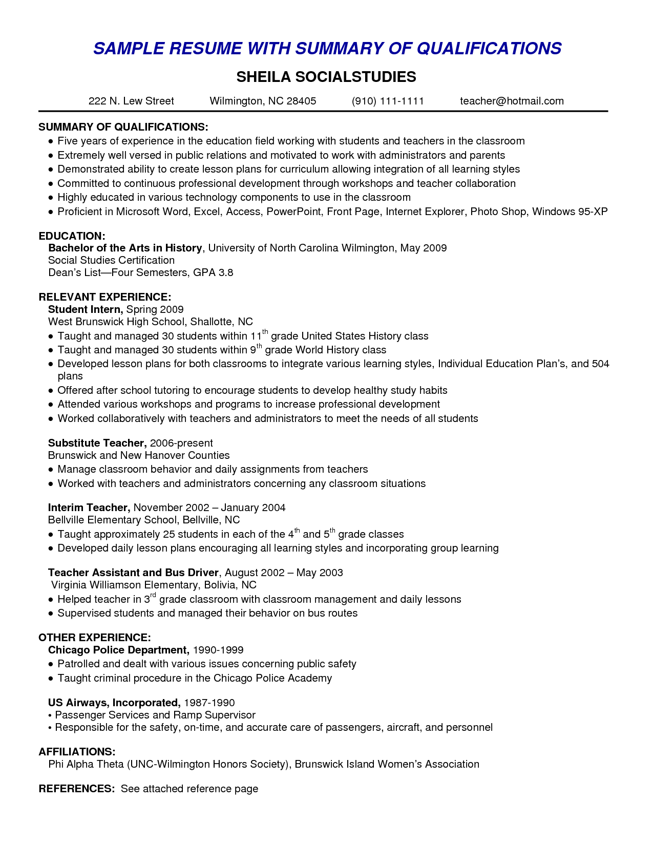 qualifications summary resume examples