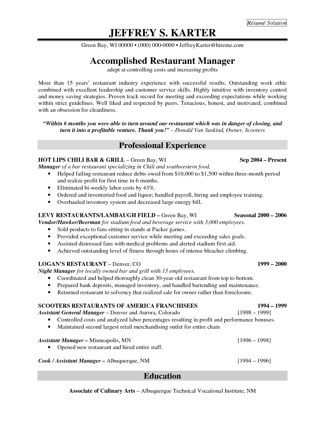 Professional Experience For Accomplidhed Restaurant
