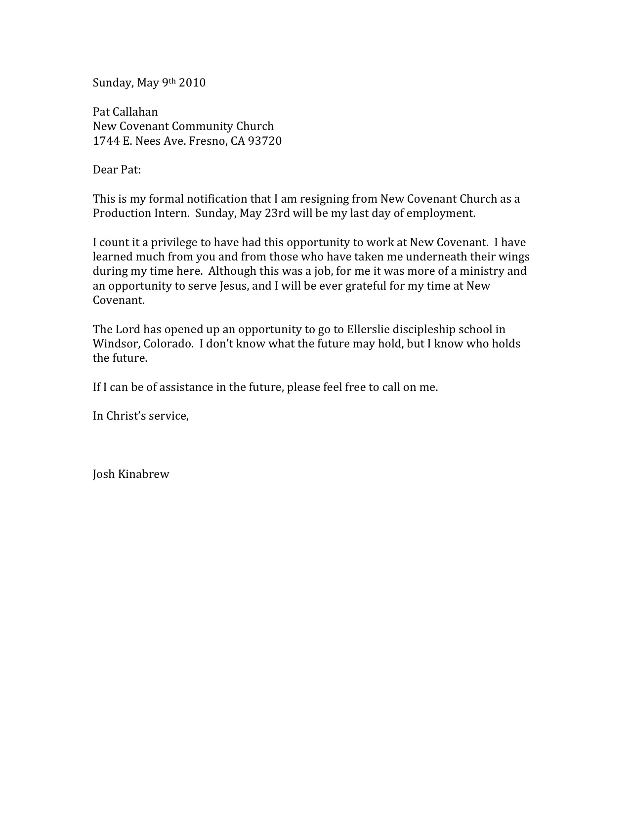 12 Cool Letters Of Resignation Sample