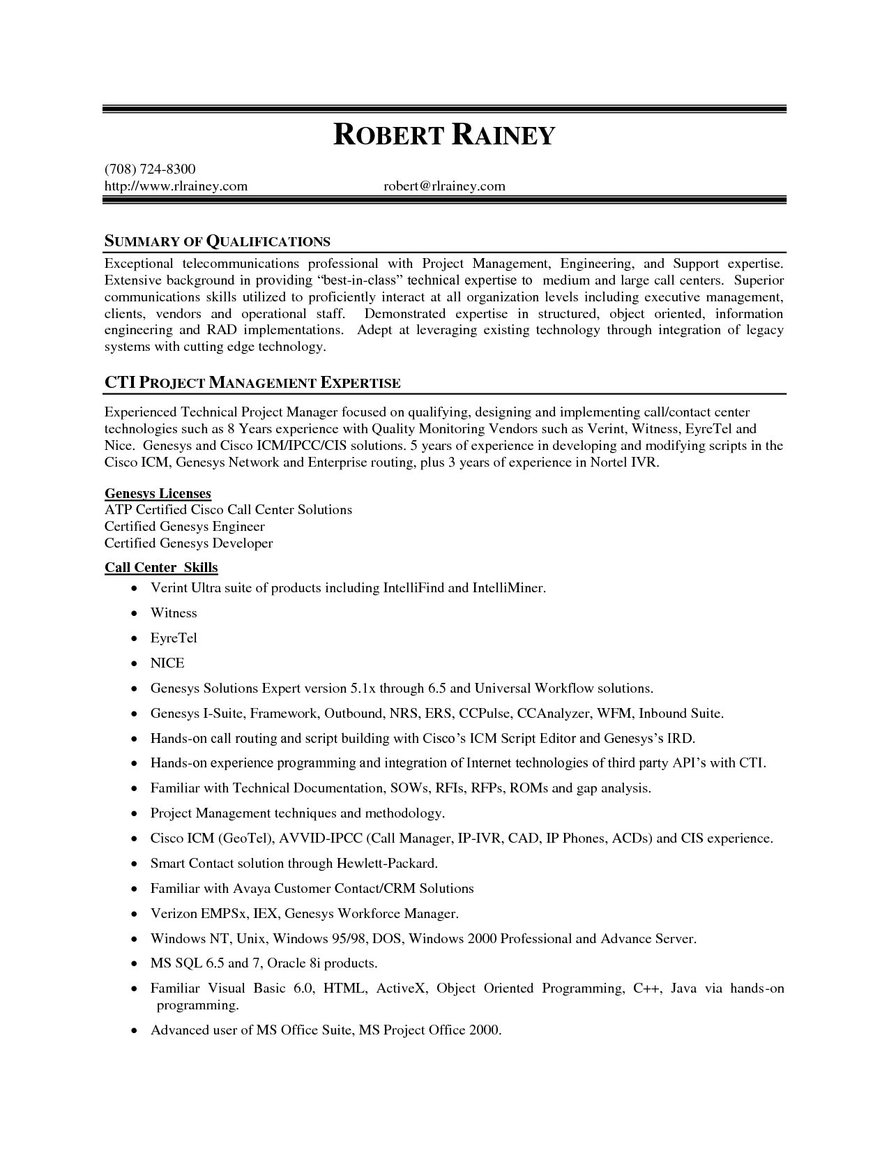 project management expertise resume summary of