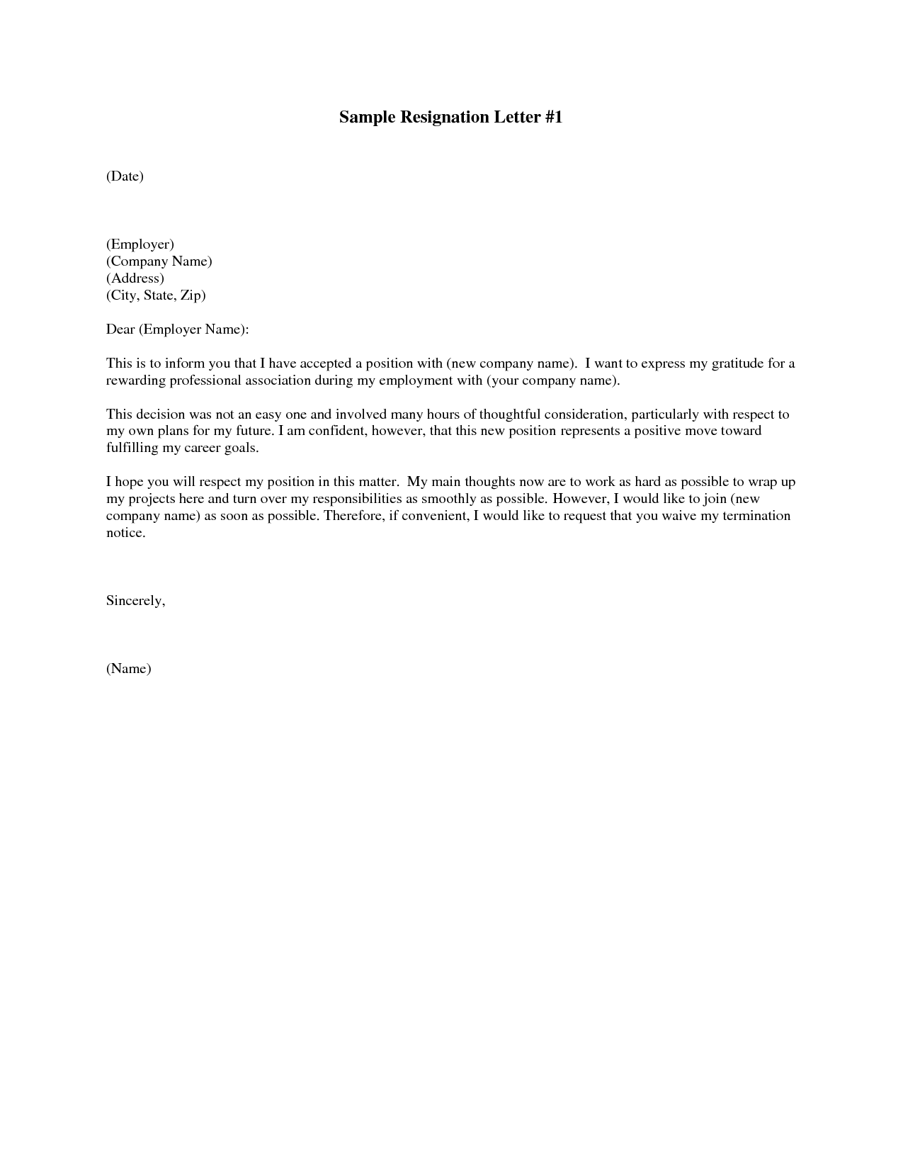accepting resignation letter samples Template – Sample Resignation Letters